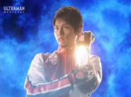 Kaito places Max Spark on his left forearm