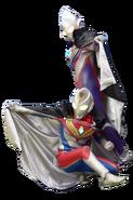 Ultraman tiga and ultraman dyna black cape render II