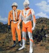 Hayata and Ultraman