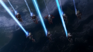 8 Ultra Brothers fire their beam to Seven's Eye Slugger