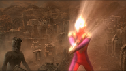 Ultraman Tiga charges Zepellion