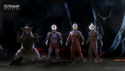 Ultraman, Ultraseven, Mebius, and Gomora Mega Battle