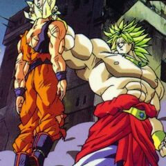 Broly holding Goku by the head