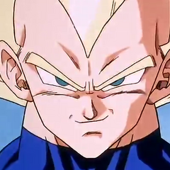 Super Saiyan Vegeta confident before fighting Cell.