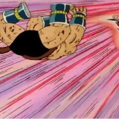 Goku using Kaio-ken to save Gohan and Krillin