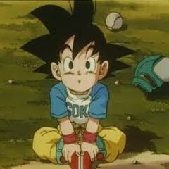 Goku Jr. on the ground