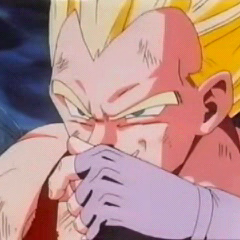 SS Vegeta fighting Omega Shenron in GT.