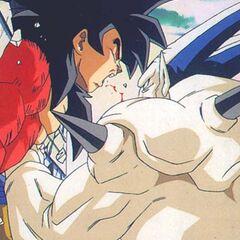 Omega Shenron punching Goku