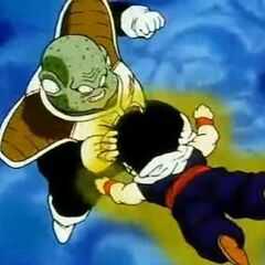 Guldo pounds Gohan and Krillin to release his anger