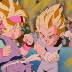 Super Saiyan Goku Jr. fights Super Saiyan Vegeta Jr.