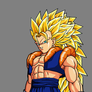Super saiyan 3 Gogetto in his un mastered state.