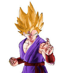 Kakarot in the graphical style of Xenoverse