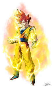 Super Saiyan God Goku by xyelkiltrox