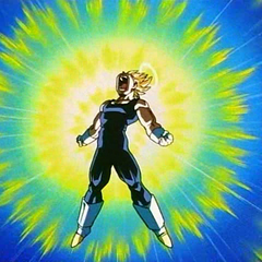 Vegeta powers up against Super Buu.