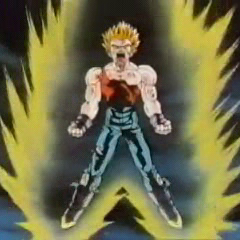 SS Vegeta powers up while fighting Omega Shenron in GT.