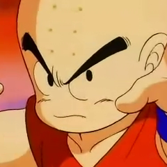 Krillin about to fight Goku.
