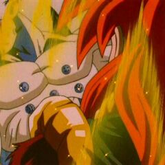 Gogeta after punching Omega Shenron