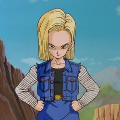 Android 18 confronting Vegeta