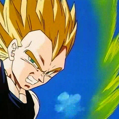 Super Saiyan Vegeta during the fight with Super Buu.