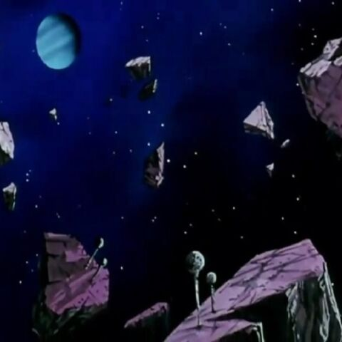 The remains of Planet Namek floating through space