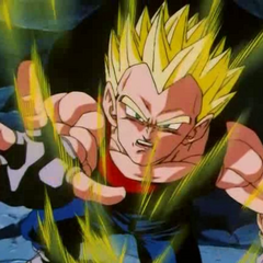 Vegeta as a Super Saiyan after attacking Baby Gohan.