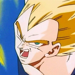 SS Vegeta about to attack Super Buu.
