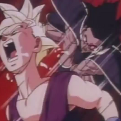 turles hits gohan in the neck agian  make him  spit