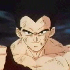 Vegeta confronts Omega Shenron in GT.