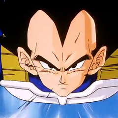 Vegeta flying to Cell.