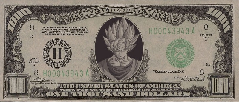 Lunapic 131690626423533 6 The Goku 1 000 Dollar Bill