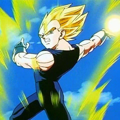 SS Vegeta about to fire a blast at Super Buu.