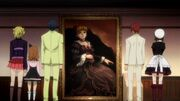 The Ushiromiya Cousins along with Shannon in front of the Beatrice's Portrait
