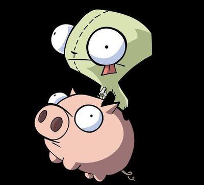 Gir riding a pig