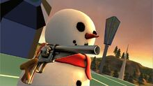 Snowman packing heat