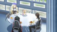 Raishin Nonchalantly Dining Together with Charlotte