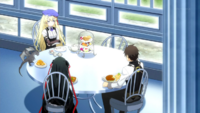 Raishin and Charlotte eating