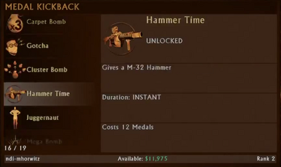 Hammer Time Selection Menu