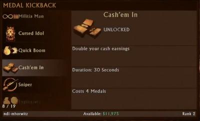 Cash'em In Menu Selection