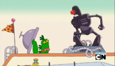 Mr Gus and Tiny Miracle in Scary Cyborg Guy 01