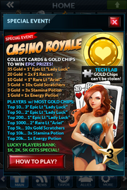 Event casino royale rewards