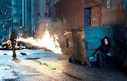 Selene evades the flamethrower