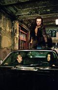 Lucian on top of Selene's car