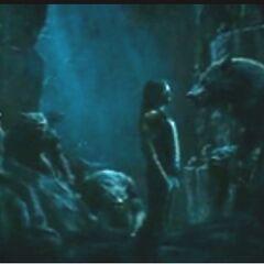 Lucian confronting a Werewolf.