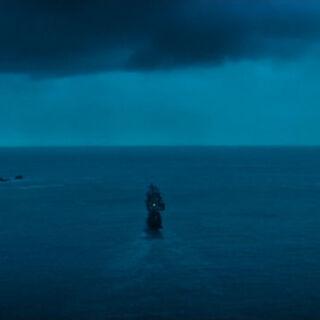 The ship escaping to open sea