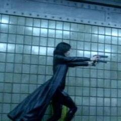 Selene fighting in the subway.