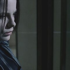 Selene looks longingly at Viktor's crypt.
