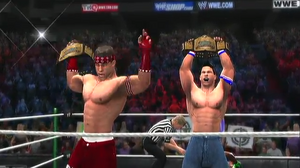Mario and Phenom winning the YWE Tag Team Championships