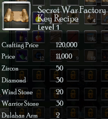 Secret war factory key recipe