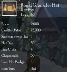 Royal Grenader Hat Rec