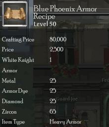 Blue Phoenix Armor Rec